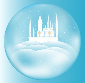 Vector snow queen's castle inside crystal ball
